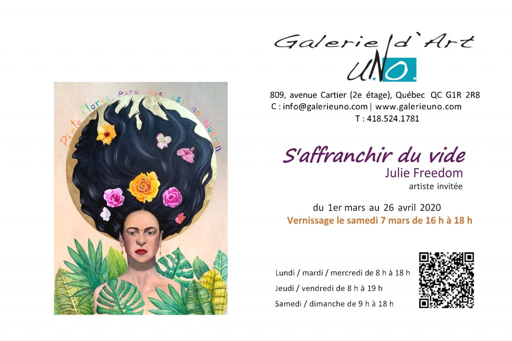 Galerie uNo vernissage - S'affranchir du vide par Julie Freedom